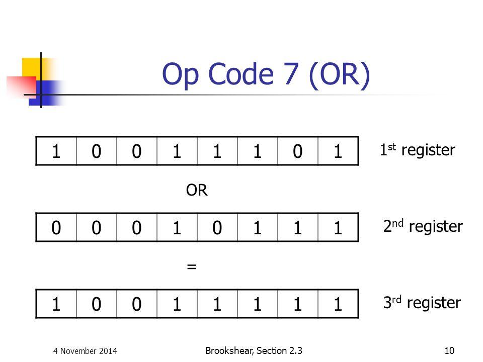 4 November 2014 Brookshear, Section 2.310 Op Code 7 (OR) 10011101 00010111 10011111 1 st register 2 nd register 3 rd register OR =