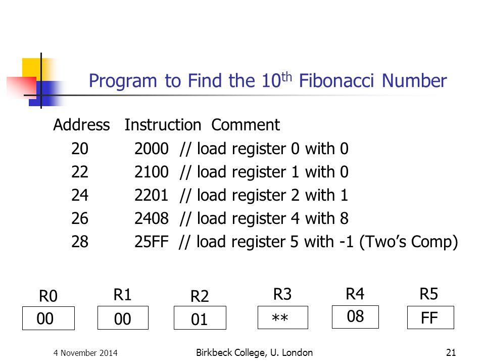 4 November 2014 Birkbeck College, U. London21 Program to Find the 10 th Fibonacci Number 20 2000 // load register 0 with 0 22 2100 // load register 1