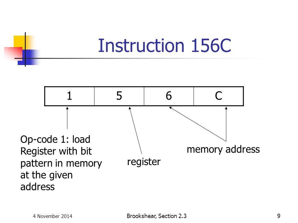 4 November 2014 Brookshear, Section 2.39 Instruction 156C 156C Op-code 1: load Register with bit pattern in memory at the given address register memor