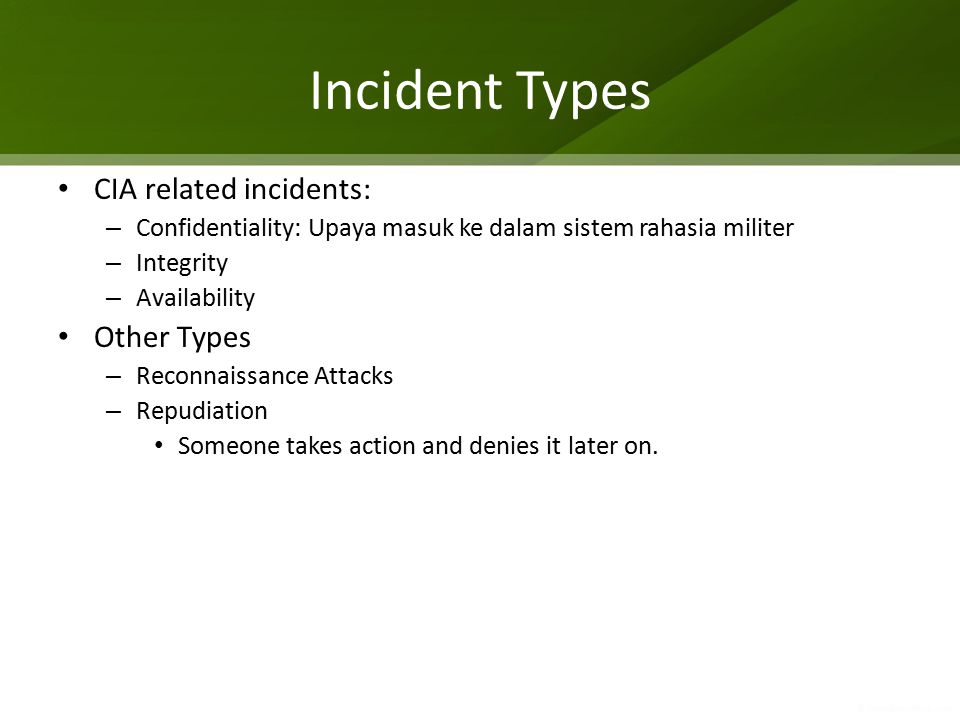 Incident Handling: Detection and Analysis Signs of an incident – Intrusion detection systems – Antivirus software – Log analyzers – File integrity checking – Third-party monitoring of critical services Incident indications vs.
