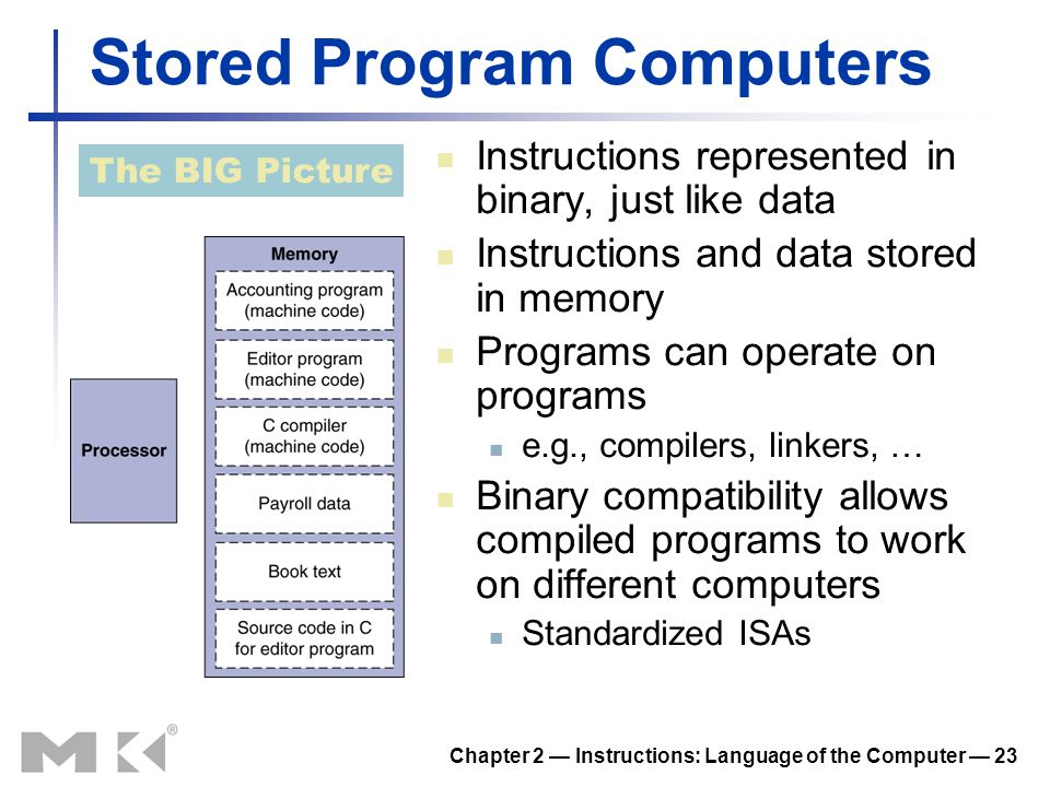 Chapter 2 — Instructions: Language of the Computer — 23 Stored Program Computers Instructions represented in binary, just like data Instructions and d