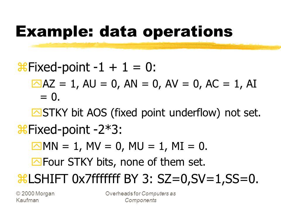© 2000 Morgan Kaufman Overheads for Computers as Components Flag operations zAll ALU operations set AZ (zero), AN (negative), AV (overflow), AC (fixed