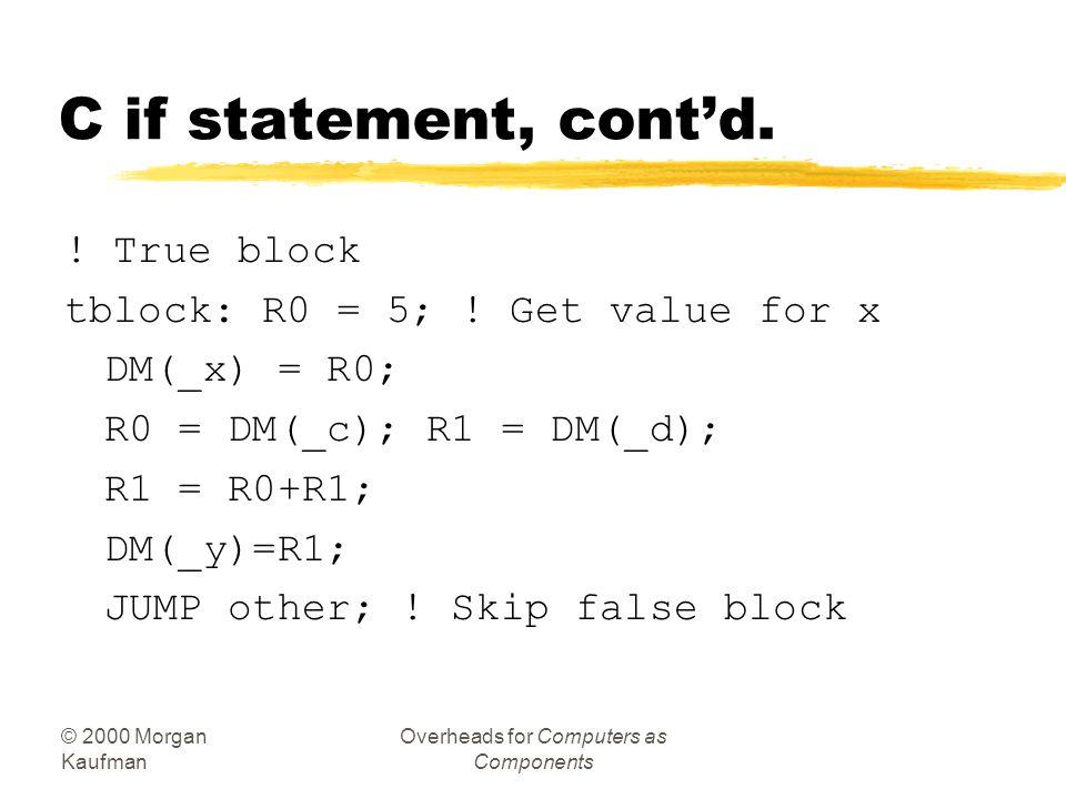© 2000 Morgan Kaufman Overheads for Computers as Components Example: C if statement zC: if (a > b) { x = 5; y = c + d; } else x = c - d; zAssembler: !