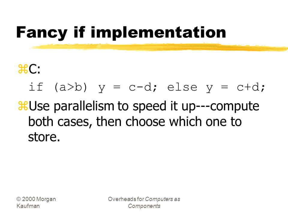 © 2000 Morgan Kaufman Overheads for Computers as Components C if statement, cont'd. ! False block fblock: R0 = DM(_c); R1 = DM(_d); R1 = R0-R1; DM(_x)