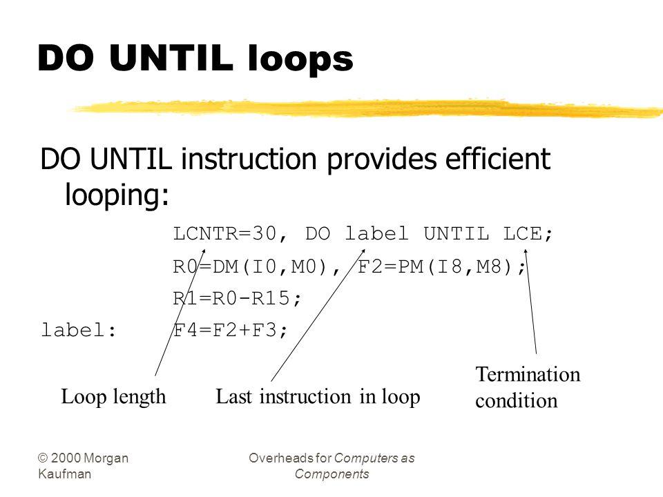 © 2000 Morgan Kaufman Overheads for Computers as Components Fancy if implementation, cont'd. ! Load values R1=DM(_a); R2=DM(_b); R3=DM(_c); R4=DM(_d);