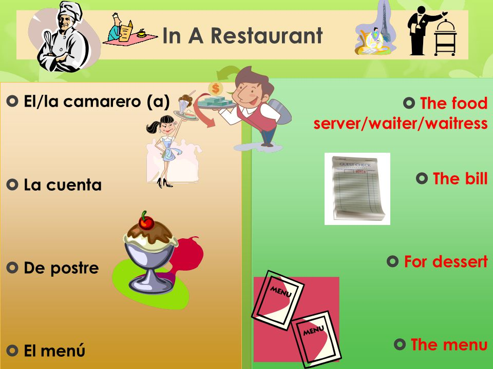 In A Restaurant  El/la camarero (a)  La cuenta  De postre  El menú  The food server/waiter/waitress  The bill  For dessert  The menu  The foo