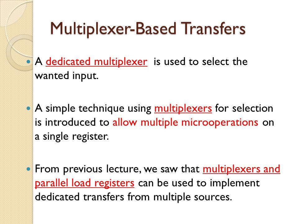 Example 3: S1, S0 = (1,0) and L0, L1, L2 = (0,1,1) then L1: R1 R2, L2 : R2 R2 (no change) Multiplexer Bus