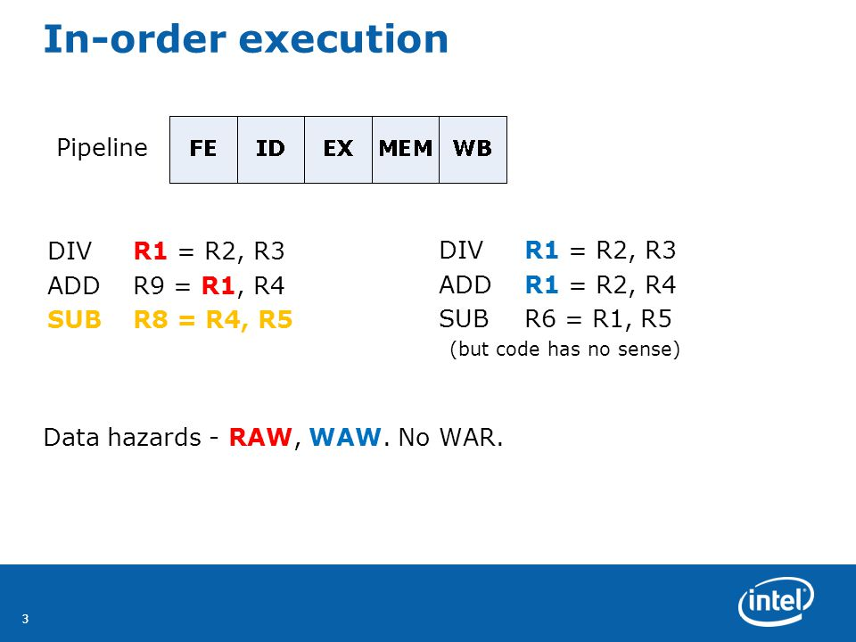 44 Out-of-order execution Split ID into 2 stages: Issue - IS Decode, check for structural hazards Read operands - RO Wait until no data hazards, read operands Pipeline Out-of-order execution implies out-of-order completion (WB) Hazards – RAW, WAW, WAR DIVR0 = R2, R4 ADDR6 = R0, R8 SUBR8 = R10, R14 MULR6 = R10, R8
