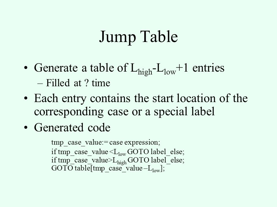 Jump Table Generate a table of L high -L low +1 entries –Filled at .