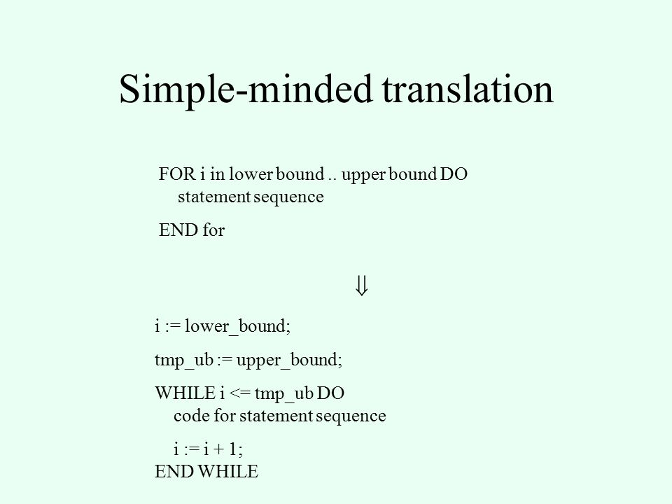 Simple-minded translation FOR i in lower bound..