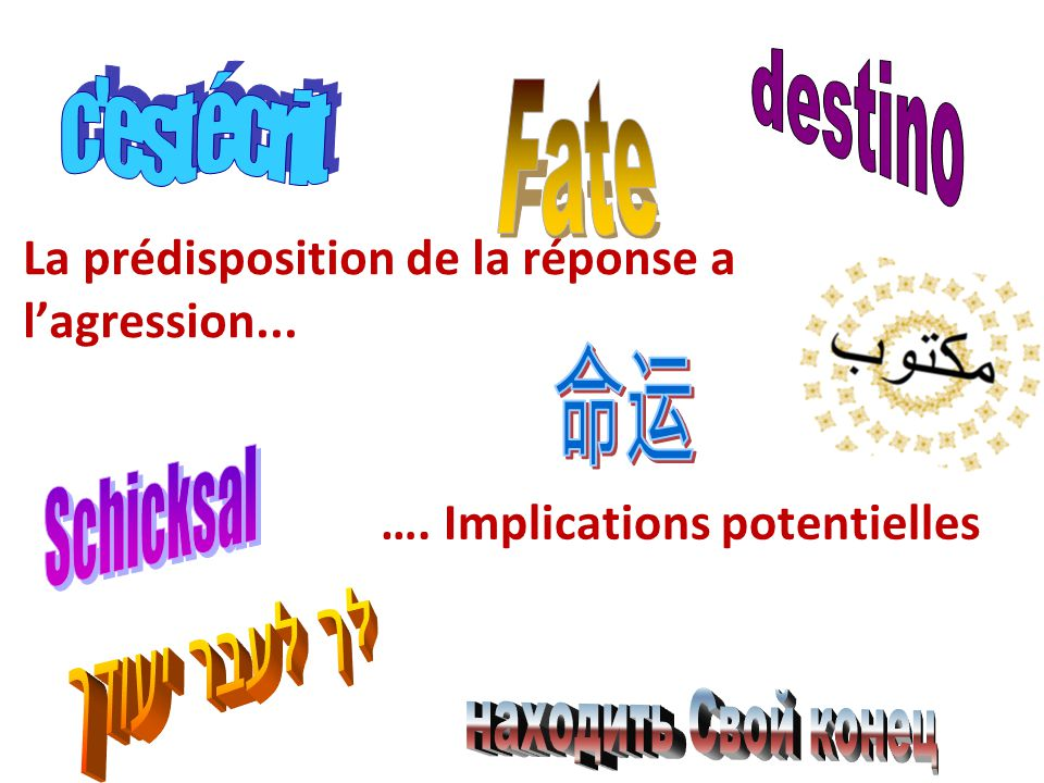 La prédisposition de la réponse a l'agression... …. Implications potentielles