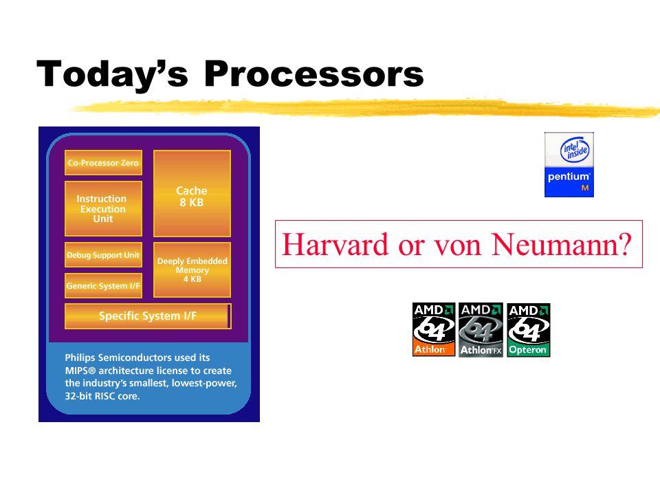 Today's Processors Harvard or von Neumann?