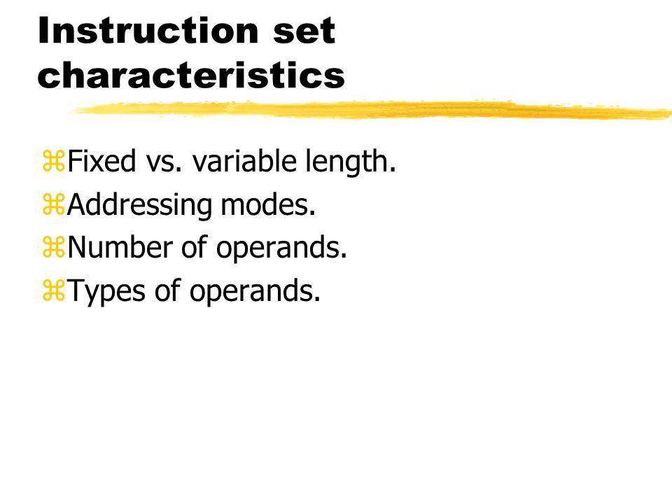 Instruction set characteristics zFixed vs. variable length. zAddressing modes. zNumber of operands. zTypes of operands.