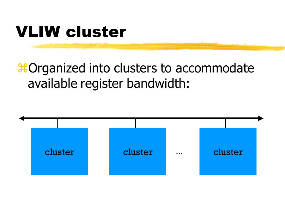 VLIW cluster zOrganized into clusters to accommodate available register bandwidth: cluster...
