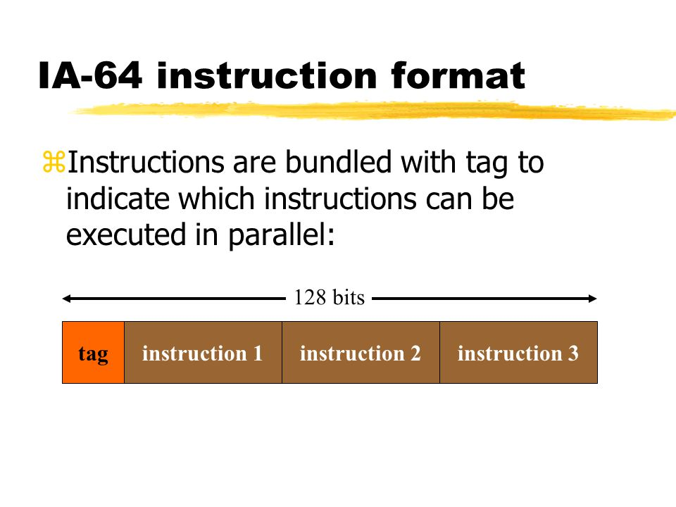 IA-64 instruction format zInstructions are bundled with tag to indicate which instructions can be executed in parallel: taginstruction 1instruction 2i