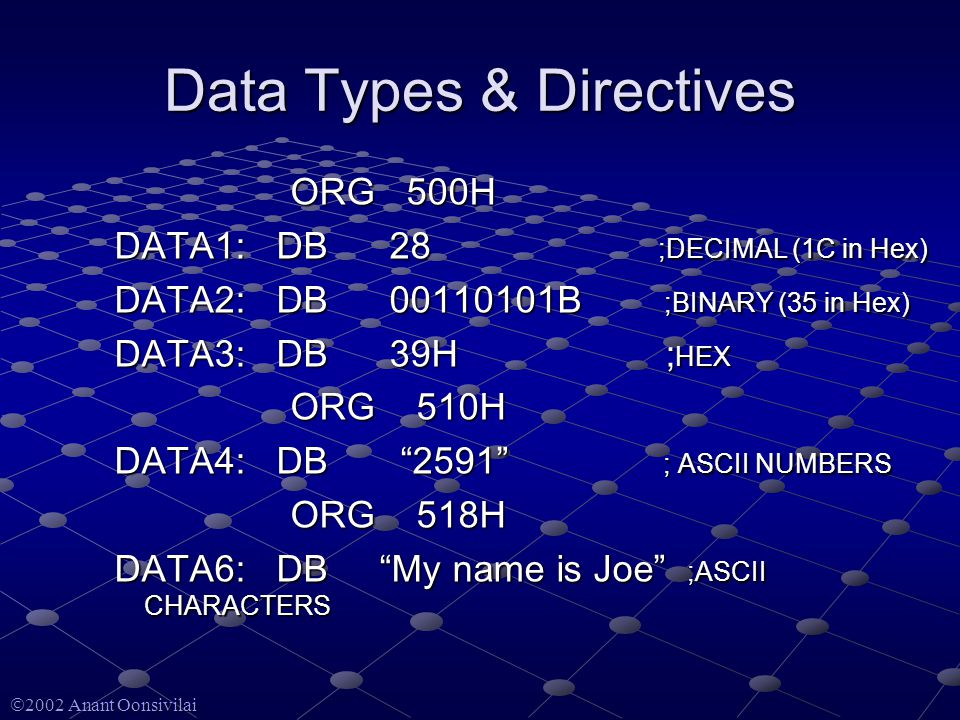 2002 Anant Oonsivilai Data Types & Directives ORG 500H ORG 500H DATA1: DB 28 ;DECIMAL (1C in Hex) DATA2: DB B ;BINARY (35 in Hex) DATA3: DB 39H ; HEX ORG 510H ORG 510H DATA4: DB 2591 ; ASCII NUMBERS ORG 518H ORG 518H DATA6: DB My name is Joe ;ASCII CHARACTERS