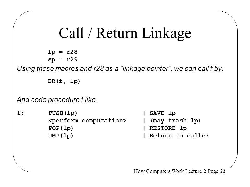 How Computers Work Lecture 2 Page 23 Call / Return Linkage f:PUSH(lp)| SAVE lp | (may trash lp) POP(lp)| RESTORE lp JMP(lp)| Return to caller BR(f, lp