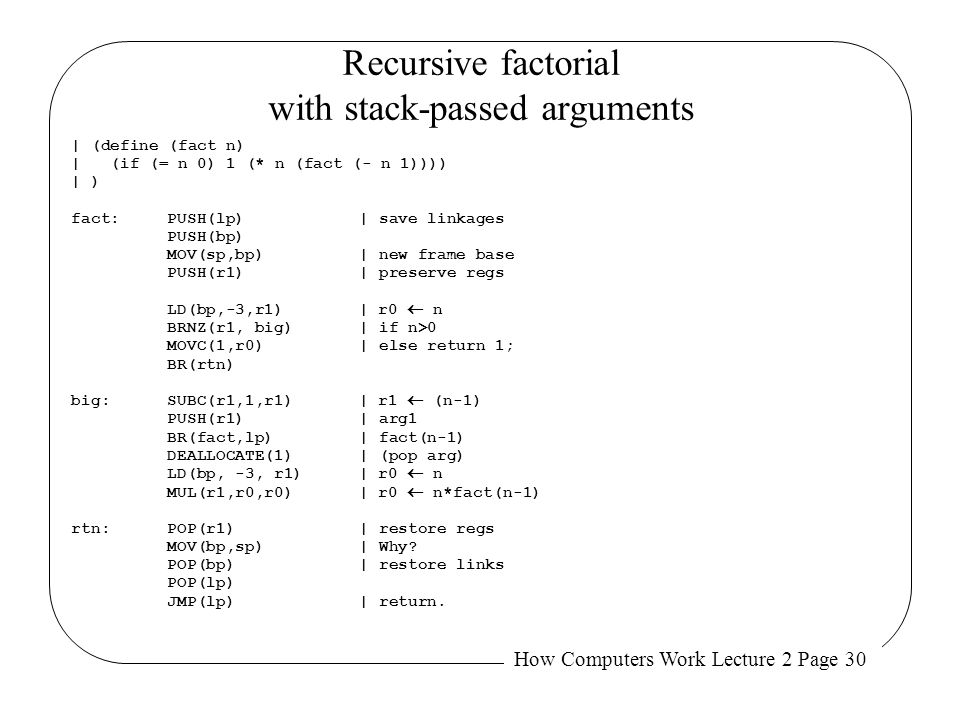 How Computers Work Lecture 2 Page 30 Recursive factorial with stack-passed arguments | (define (fact n) | (if (= n 0) 1 (* n (fact (- n 1)))) | ) fact