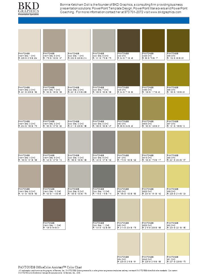 PANTONE® OfficeColor Assistant™ Color Chart All trademarks used herein are the property of Pantone, Inc. PANTONE® Colors generated by a color printer