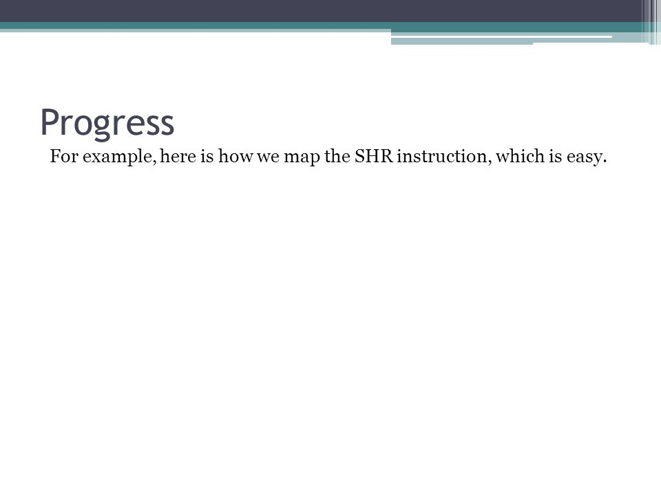 For example, here is how we map the SHR instruction, which is easy.
