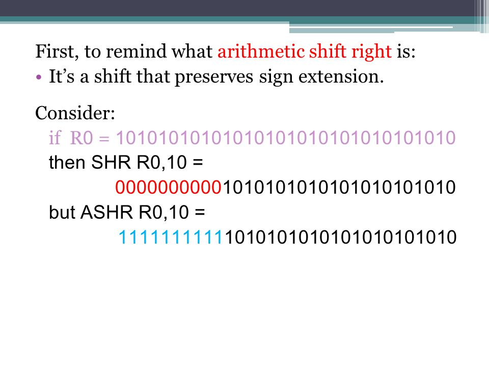 First, to remind what arithmetic shift right is: It's a shift that preserves sign extension.