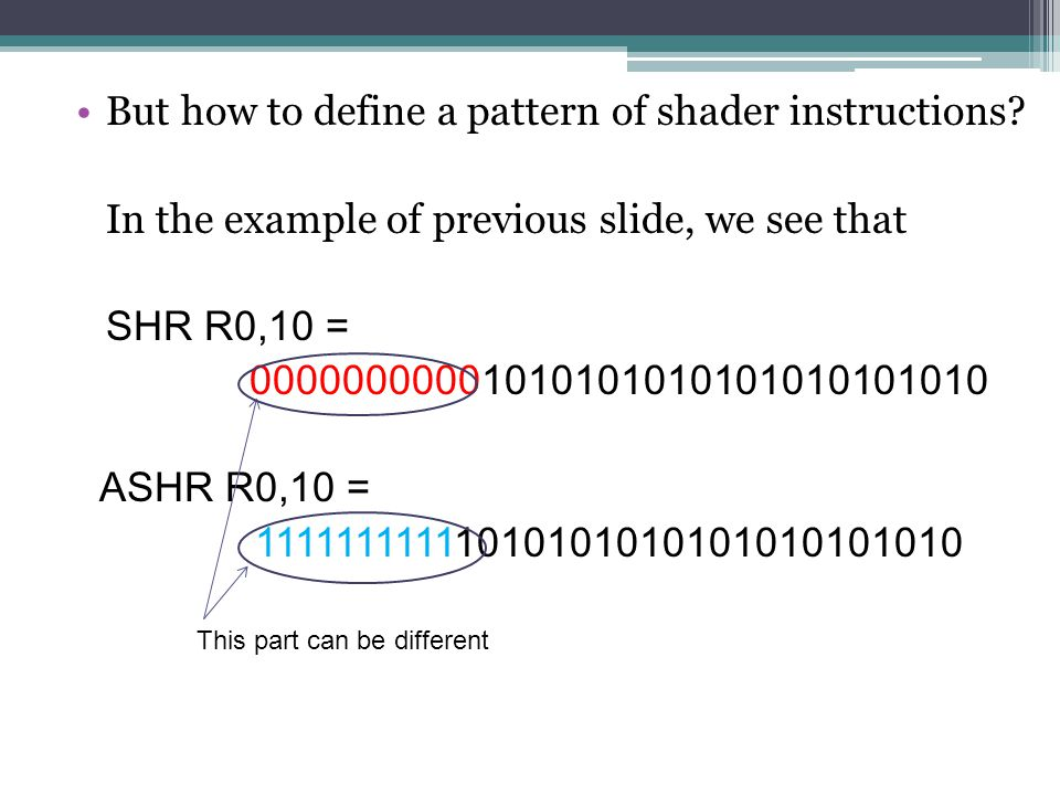 But how to define a pattern of shader instructions.