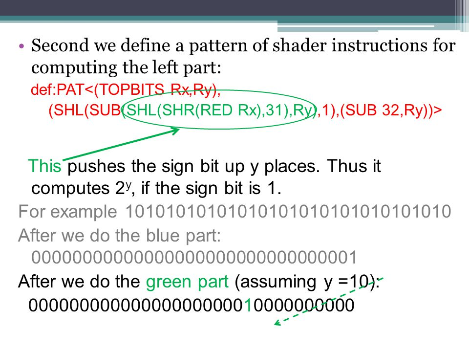 Second we define a pattern of shader instructions for computing the left part: def:PAT<(TOPBITS Rx,Ry), (SHL(SUB(SHL(SHR(RED Rx),31),Ry),1),(SUB 32,Ry))> This now computes the left part.