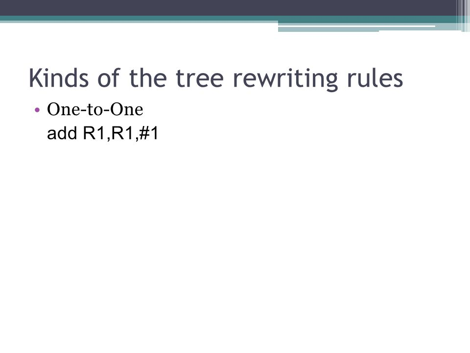 One-to-One add R1,R1,#1 Kinds of the tree rewriting rules