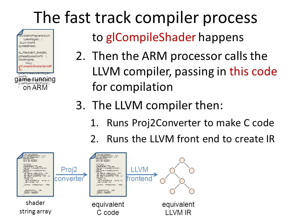 1.So now, as the game runs, this call to glCompileShader happens 2.Then the ARM processor calls the LLVM compiler, passing in this code for compilation 3.The LLVM compiler then: 1.Runs Proj2Converter to make C code 2.Runs the LLVM front end to create IR 3.Runs our new LLVM backend to create shader object file 4.Sends the object file back to the game void AddBrickFragments(Gluint currentProgram) { GLuint brickFS =glCreateShader( GL_FRAGMENT_SHADER); glShaderSource(brickFS, 1, brickStringArray, NULL); glCompileShader(brickF S); glAttachShader(currentProgram, brickFS); glLinkProgram(currentProgram); glUseProgram(currentProgram); } iform vec3 LightPosition; const float SpecularContribution = 0.3; const float DiffuseContribution = 1.0 - SpecularContribution; varying float LightIntensity; varying vec2 MCposition; void main(void) { vec3 ecPosition = vec3 (gl_ModelViewMatrix * gl_Vertex); vec3 tnorm = normalize(gl_NormalMatrix * gl_Normal); vec3 lightVec = normalize(LightPosition - ecPosition); vec3 reflectVec = reflect(-lightVec, tnorm); vec3 viewVec = normalize(-ecPosition); float diffuse = max(dot(lightVec, tnorm), 0.0); float spec = 0.0; if (diffuse > 0.0) { spec = max(dot(reflectVec, viewVec), 0.0); spec = pow(spec, 16.0); } LightIntensity = DiffuseContribution * diffuse + SpecularContribution * spec; MCposition = gl_Vertex.xy; gl_Position = ftransform(); } shader string array g ame running on ARM iform vec3 LightPosition; const float SpecularContribution = 0.3; const float DiffuseContribution = 1.0 - SpecularContribution; varying float LightIntensity; varying vec2 MCposition; void main(void) { vec3 ecPosition = vec3 (gl_ModelViewMatrix * gl_Vertex); vec3 tnorm = normalize(gl_NormalMatrix * gl_Normal); vec3 lightVec = normalize(LightPosition - ecPosition); vec3 reflectVec = reflect(-lightVec, tnorm); vec3 viewVec = normalize(-ecPosition); float diffuse = max(dot(lightVec, tnorm), 0.0); float spec = 0.0; if (diffuse > 0.0) { spec = max(dot(reflectVec, viewVec), 0.0); spec = pow(spec, 16.0); } LightIntensity = DiffuseContribution * diffuse + SpecularContribution * spec; MCposition = gl_Vertex.xy; gl_Position = ftransform(); } equivalent C code Proj2 converter equivalent LLVM IR LLVM frontend The fast track compiler process