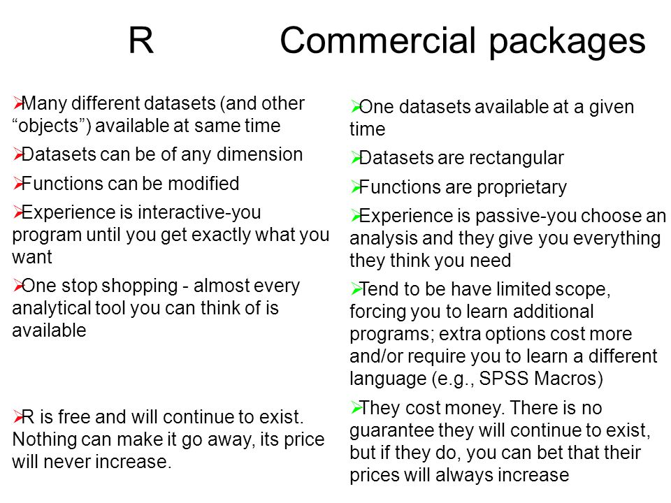 R Commercial packages  Many different datasets (and other objects ) available at same time  Datasets can be of any dimension  Functions can be modified  Experience is interactive-you program until you get exactly what you want  One stop shopping - almost every analytical tool you can think of is available  R is free and will continue to exist.
