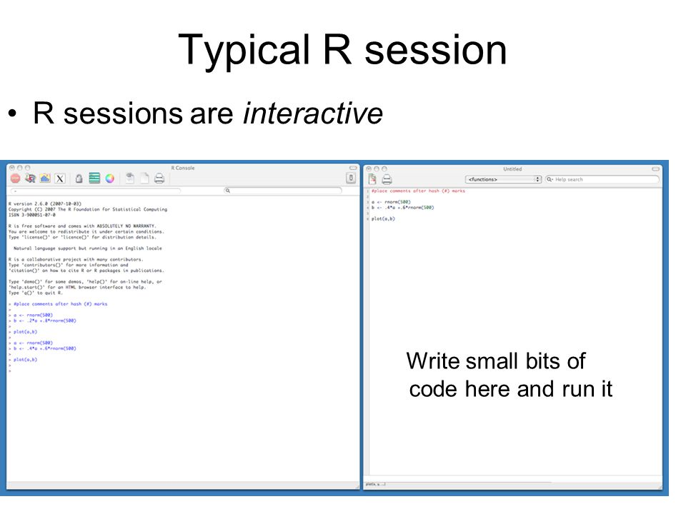 Typical R session R sessions are interactive Write small bits of code here and run it