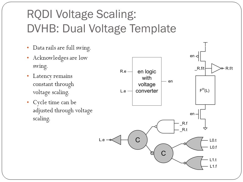 RQDI Voltage Scaling: DVHB: Dual Voltage Template Data rails are full swing. Acknowledges are low swing. Latency remains constant through voltage scal