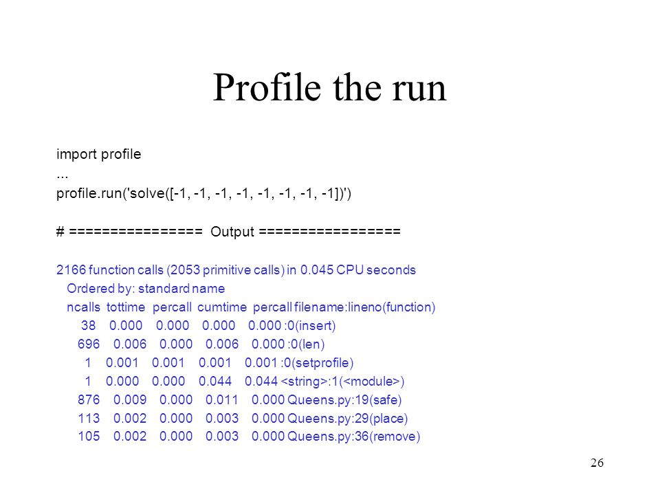 26 Profile the run import profile...