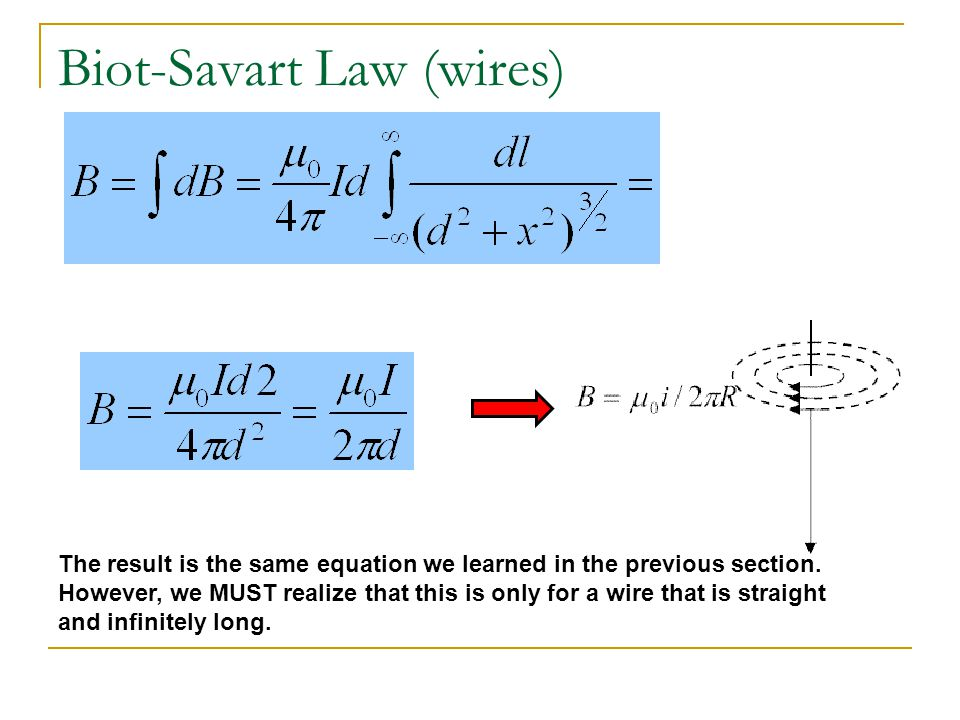 Biot-Savart Law (wires) What is the equation for the magnitude of the magnetic field at the center of a current carrying loop.