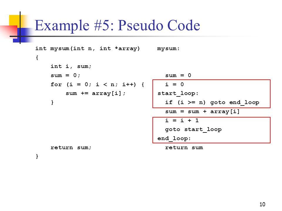 10 Example #5: Pseudo Code int mysum(int n, int *array) { int i, sum; sum = 0; for (i = 0; i < n; i++) { sum += array[i]; } return sum; } mysum: sum =