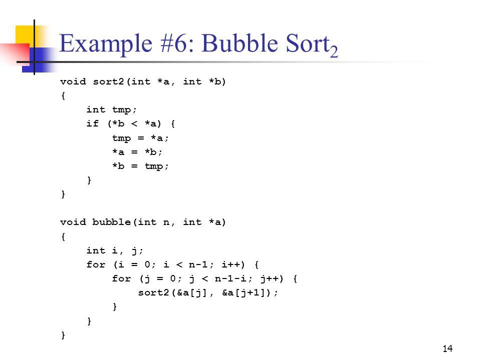 14 Example #6: Bubble Sort 2 void sort2(int *a, int *b) { int tmp; if (*b < *a) { tmp = *a; *a = *b; *b = tmp; } void bubble(int n, int *a) { int i, j