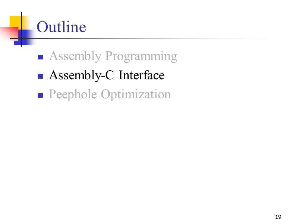 19 Outline Assembly Programming Assembly-C Interface Peephole Optimization