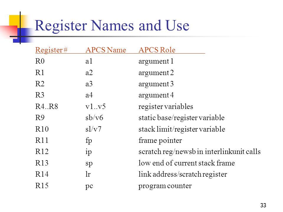 33 Register Names and Use Register #APCS NameAPCS Role R0 a1 argument 1 R1 a2 argument 2 R2 a3 argument 3 R3 a4 argument 4 R4..R8 v1..v5 register vari
