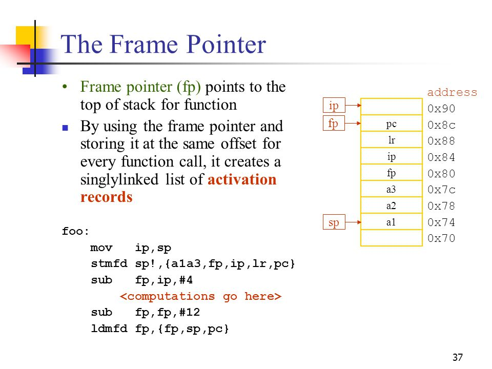 37 The Frame Pointer Frame pointer (fp) points to the top of stack for function By using the frame pointer and storing it at the same offset for every