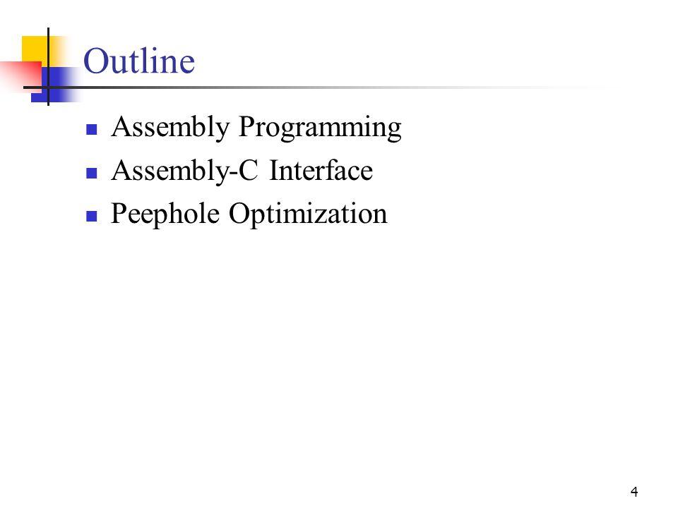 4 Outline Assembly Programming Assembly-C Interface Peephole Optimization