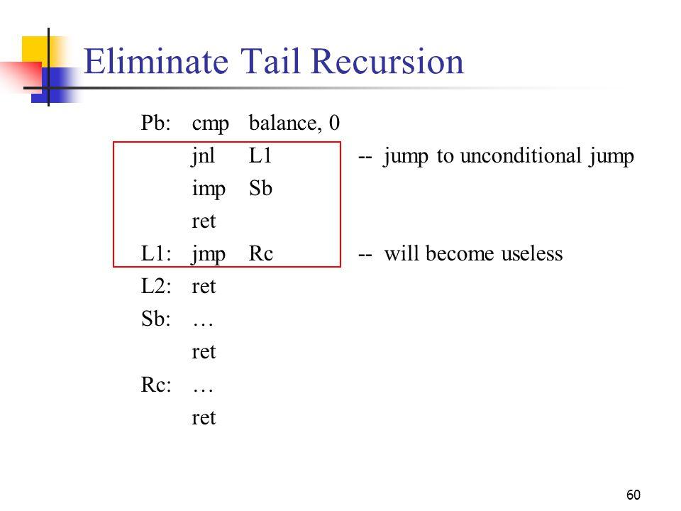 60 Eliminate Tail Recursion Pb:cmpbalance, 0 jnlL1-- jump to unconditional jump impSb ret L1:jmpRc-- will become useless L2:ret Sb:… ret Rc:… ret