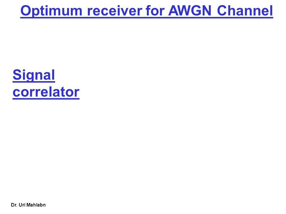 Dr. Uri Mahlabn Optimum receiver for AWGN Channel Signal correlator