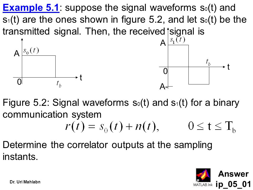 Dr. Uri Mahlabn Example 5.1: suppose the signal waveforms s 0 (t) and s 1 (t) are the ones shown in figure 5.2, and let s 0 (t) be the transmitted sig