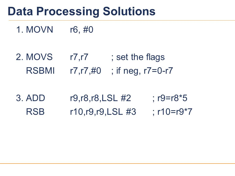 14 Data Processing Solutions 1.MOVNr6, #0 2.