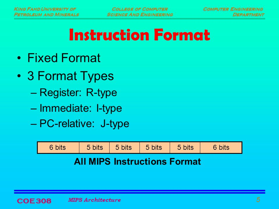 King Fahd University of Petroleum and Minerals King Fahd University of Petroleum and Minerals Computer Engineering Department Computer Engineering Department College of Computer Science And Engineering College of Computer Science And Engineering MIPS Architecture 5 COE 308 Instruction Format Fixed Format 3 Format Types –Register: R-type –Immediate: I-type –PC-relative:J-type 6 bits 5 bits All MIPS Instructions Format
