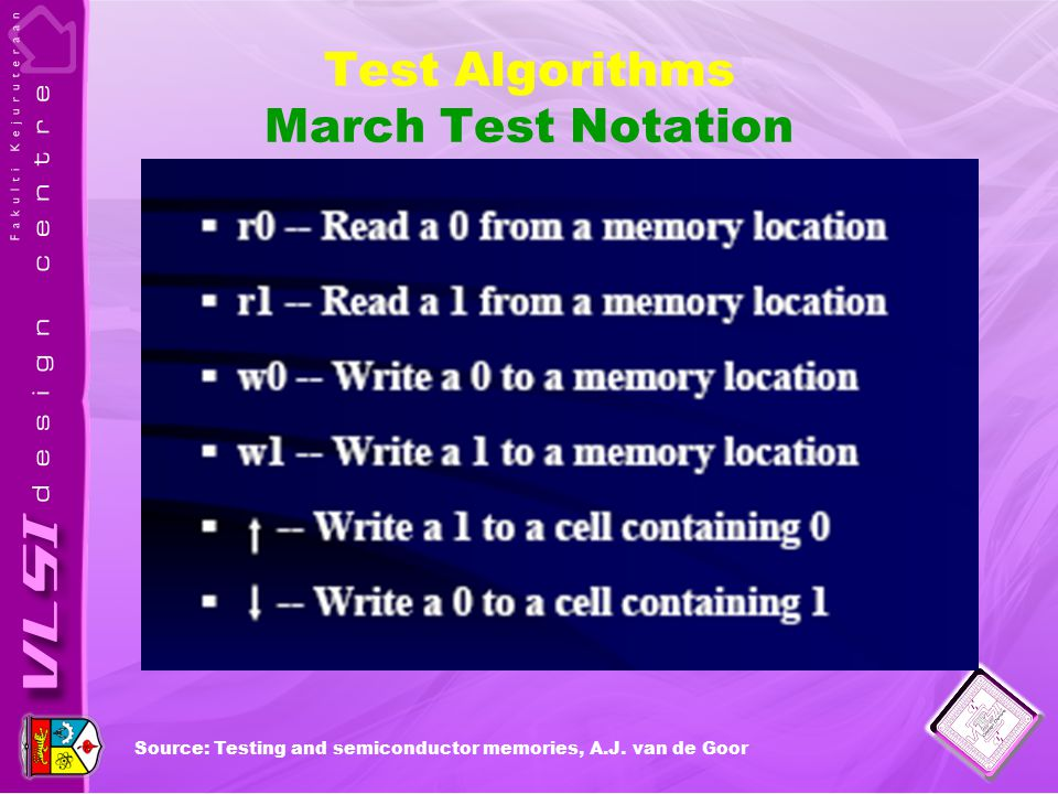 Test Algorithms March Test Notation Source: Testing and semiconductor memories, A.J. van de Goor