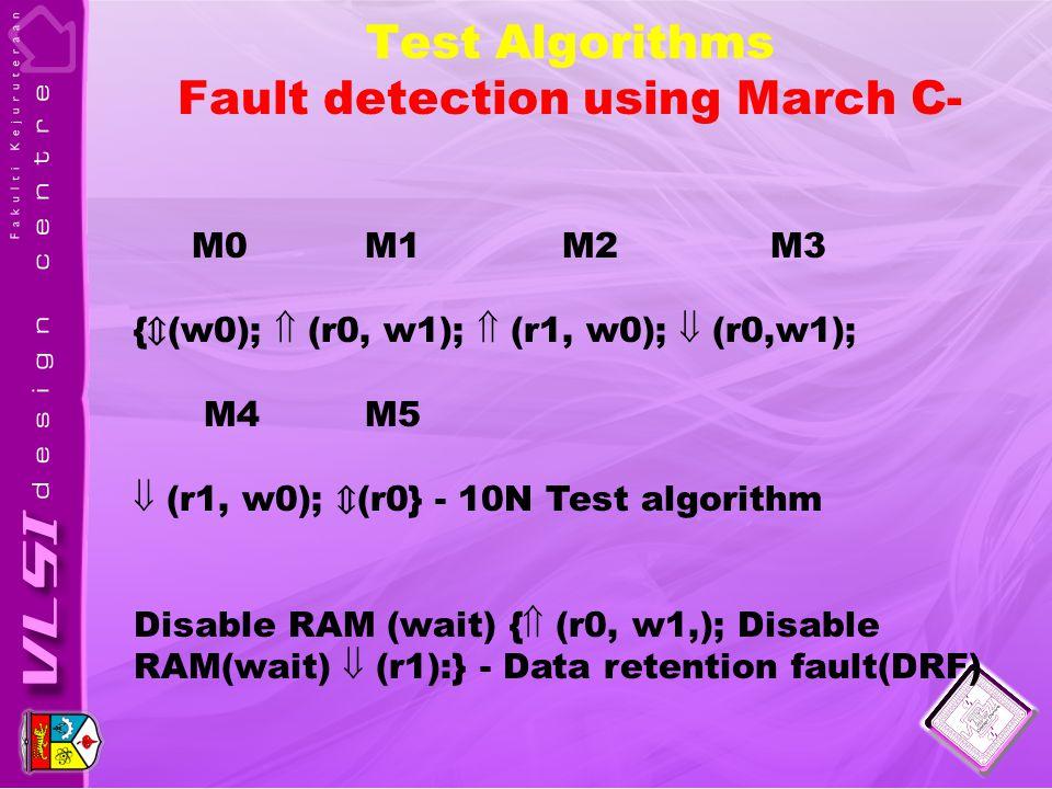 Test Algorithms Fault detection using March C- M0 M1 M2 M3 { ⇕ (w0);  (r0, w1);  (r1, w0);  (r0,w1); M4 M5  (r1, w0); ⇕ (r0} - 10N Test algorithm