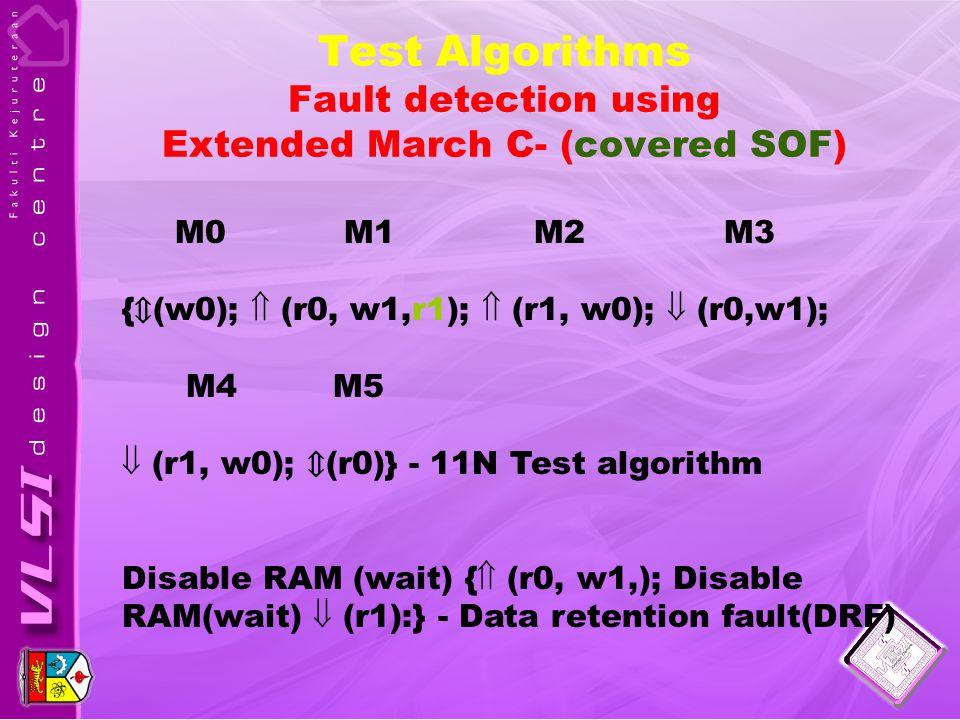 Test Algorithms Fault detection using Extended March C- (covered SOF) M0 M1 M2 M3 { ⇕ (w0);  (r0, w1,r1);  (r1, w0);  (r0,w1); M4 M5  (r1, w0); ⇕