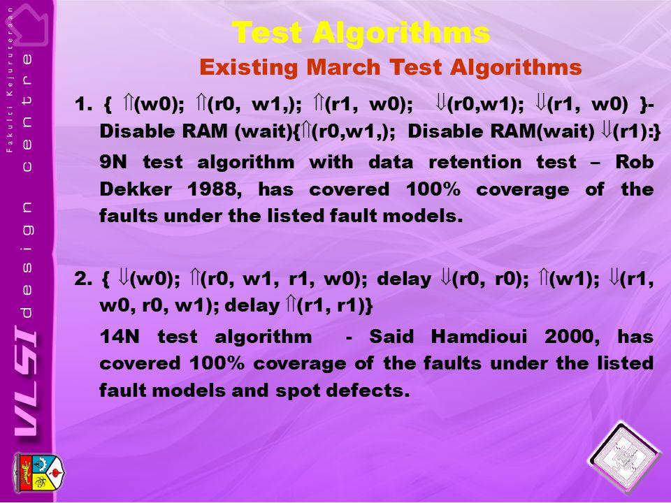 1. {  (w0);  (r0, w1,);  (r1, w0);  (r0,w1);  (r1, w0) }- Disable RAM (wait){  (r0,w1,); Disable RAM(wait)  (r1):} 9N test algorithm with data