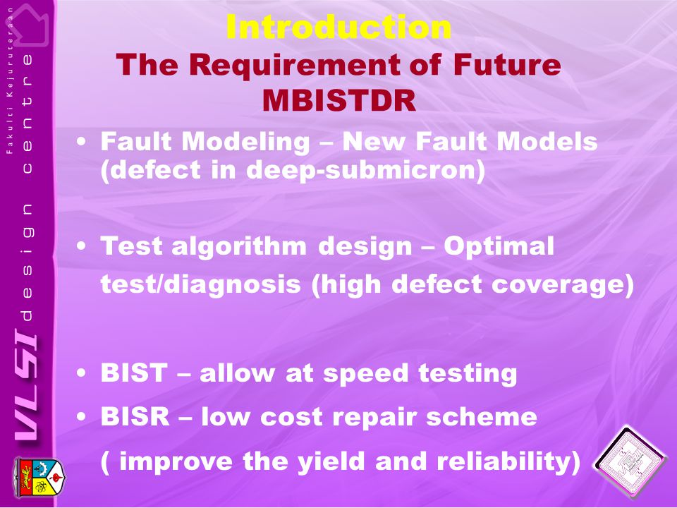 Introduction The Requirement of Future MBISTDR Fault Modeling – New Fault Models (defect in deep-submicron) Test algorithm design – Optimal test/diagnosis (high defect coverage) BIST – allow at speed testing BISR – low cost repair scheme ( improve the yield and reliability)